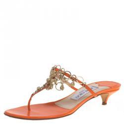 6d0213a4d59 Jimmy Choo Orange Leather Embellished Kitten Heel Sandals Size 38