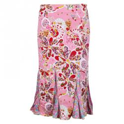 John Galliano Pink Floral Print Peplum Hem Skirt M