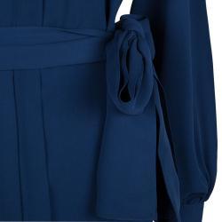 Joseph Blue Silk Mandarin Collar Long Sleeve Belted Shirt Dress S