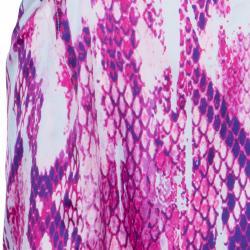Just Cavalli Purple Snake Print Silk Dress L