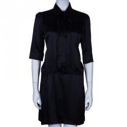 Just Cavalli Black Tie Waist Silk Dress M