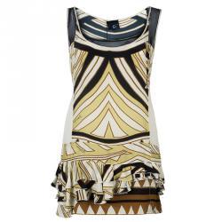 Just Cavalli Cream & Black Abstract Print Silk Sleeveless Dress L