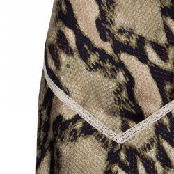 Just Cavalli Olive & Black Snake Print Silk Dress M