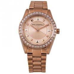 Karl Lagerfeld Rose Gold-Plated Stainless Steel Crystals KL2808 Women's Wristwatch 34MM