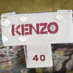 Kenzo Pastel Multicolor Floral Print Silk Shirt M