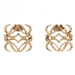 Loewe Anagram Gold Tone Stud Earrings