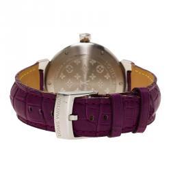 Louis Vuitton Black Stainless Steel Diamond Tambour Women's Wristwatch 34MM