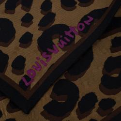 Louis Vuitton Brown Leopard Silk Bandeau