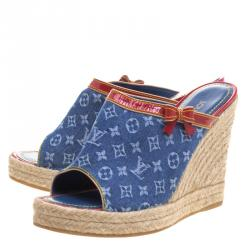 Louis Vuitton Blue Monogram Denim Espadrille Wedge Mules Size 39