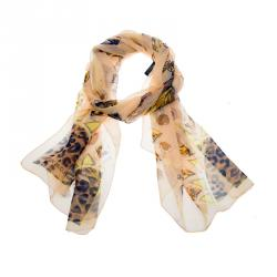 Louis Vuitton Peach Multicolor Jewelry and Leopard Printed Silk Scarf