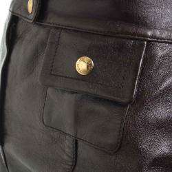 Louis Vuitton Dark Brown Leather Skirt S