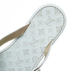 Louis Vuitton Beige and White Monogram Rubber Thong Sandals Size 39.5
