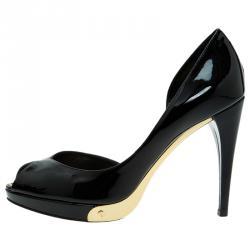 Louis Vuitton Black Patent Peep Toe D'orsay Pumps Size 36.5