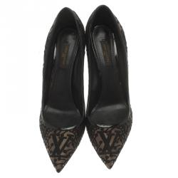 Louis Vuitton Black Fabric and Leather Pointed Toe Pumps Size 40
