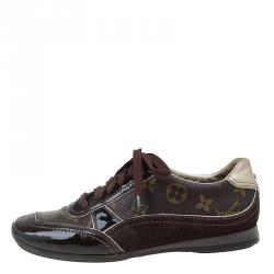 Louis Vuitton Brown Monogram Canvas and Leather Square Toe Sneakers Size 36