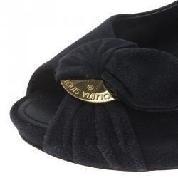 Louis Vuitton Navy Blue Suede Catania Peep Toe Pumps Size 39.5