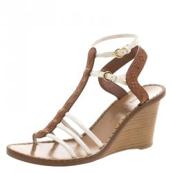 5e3f93b41bd2 Louis Vuitton Brown Embossed Leather Key West Ankle Strap Wedge Sandals Size  37.5