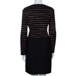 M Missoni Black Striped Bodice Knit Dress L