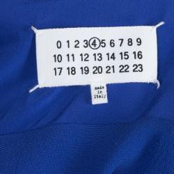 Maison Martin Margiela Blue Silk Belted Long Sleeve Dress M