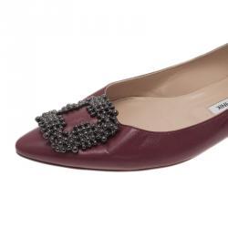 Manolo Blahnik Burgundy Leather Hangisi Ballet Flats Size 38.5