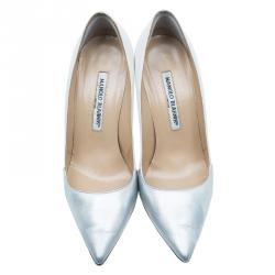 Manolo Blahnik Two Tone Leather BB Pointed Toe Pumps Size 37
