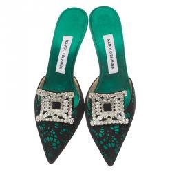 Manolo Blahnik Green Satin and Lace Borli Crystal Embellished Mules Size 38.5