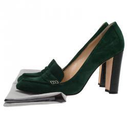 Manolo Blahnik Green Suede Loafer Pumps Size 39