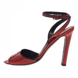 Manolo Blahnik Red Patent Leather Ankle Strap Sandals Size 37.5