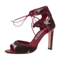 Manolo Blahnik Red and Brown Pony Hair Lace-Up Sandals Size 37