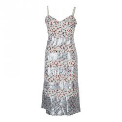Marc by Marc Jacobs White Printed Lurex Insert Sleeveless Dress M