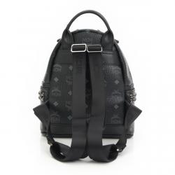 MCM Black Visetos Coated Canvas Small Stark Backpack