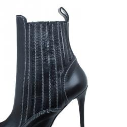 McQ by Alexander McQueen Black Stitched Leather Ankle Boots Size 39