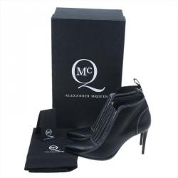McQ by Alexander McQueen Black Stitched Leather Ankle Booties Size 38