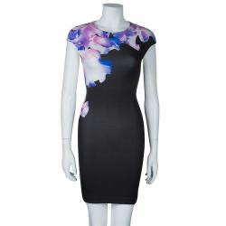 McQ by Alexander McQueen Black Floral Printed Dress S
