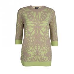 McQ by Alexander McQueen Beige Contrast Print Sweater M