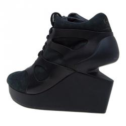 McQ By Alexander McQueen For Puma Black Leather and Nubuck Leap Wedge Sneakers Size 42