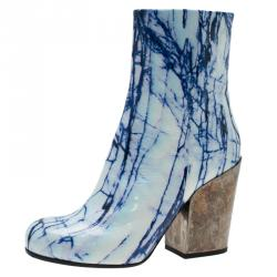 McQ by Alexander McQueen Blue and White Printed Leather Geffrye Boots Size 39