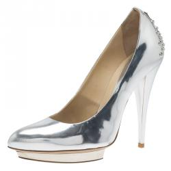 McQ by Alexander McQueen Silver Patent Studded Metallic Pointed Toe Pumps Size 38