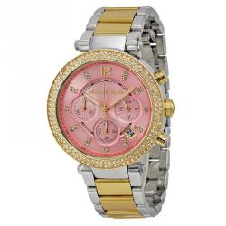 Michael Kors Pink Silver and Gold-Plated Stainless Steel Parker MK6140 Women's Wristwatch 39MM