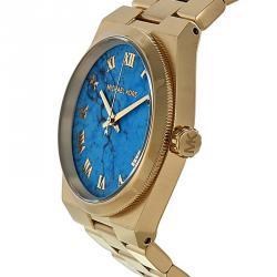 Michael Kors Blue Gold-Plated Stainless Steel Channing MK5894 Women's Wristwatch 38MM