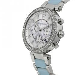 Michael Kors Silver Stainless Steel Crystal Parker MK6138 Women's Wristwatch 39MM