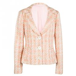 Michael Kors Pink Tweed Sequin Embellished Skirt Suit L