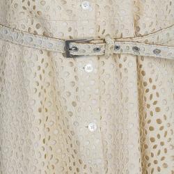 Michael Kors Beige Belted Eyelet Dress L