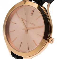 Michael Kors Champagne Gold-Plated Stainless Steel Slim Runway Women's Wristwatch 40MM