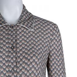 Missoni Multicolor Zig Zag Wool Button Down Full Length Cardigan S