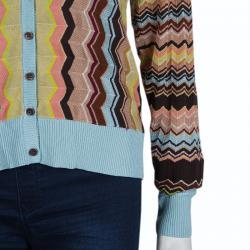 Missoni Multicolor Zig Zag Knit Cardigan XL