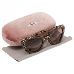 Miu Miu Tortoise SMU 04Q Embellished Cat Eye Sunglasses