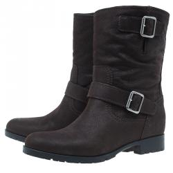 Miu Miu Brown Leather Buckle Detail Biker Boots Size 40
