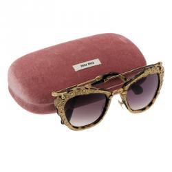 Miu Miu Gold SMU 04Q Embellished Cat Eye Sunglasses