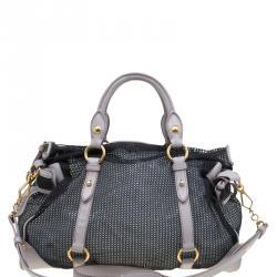 Miu Miu Black/Beige Mesh and Leather Top Handle Bag